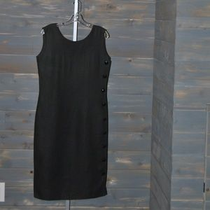 Valentino Miss V Black Side Button Dress, Size 44